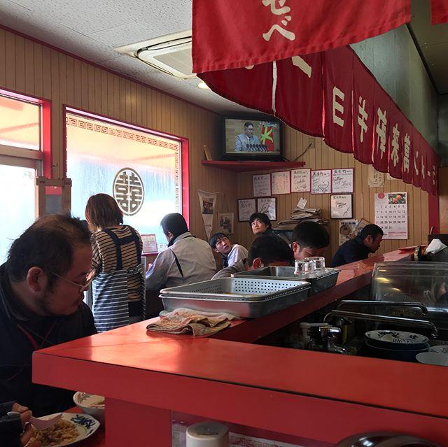 萬来軒にて。お客さんでいっぱい。C定食(ラーメン+炒飯+餃子)をいただきました。まいうー。#因島 #ラーメン
