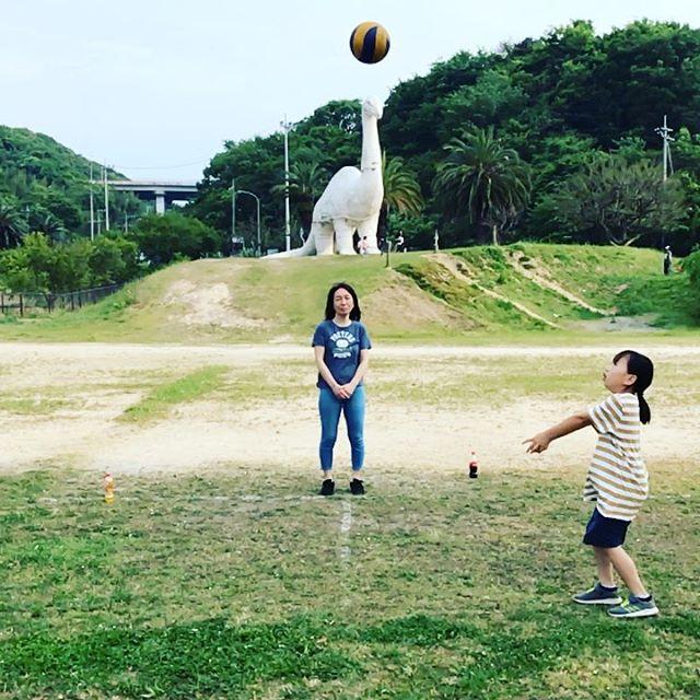 恐竜公園で家族バレーボール。#因島