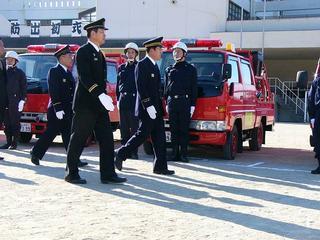 [1月14日] 因島と瀬戸田の出初式 最後の晴舞台に熱気 消防団は地域方面隊に