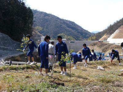 因北中卒業生51人 奥山ダム周辺で植樹 自然愛する会が応援